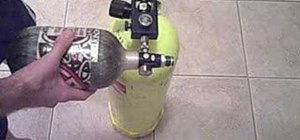 Fill a paintball tank using a scuba tank