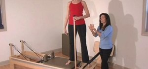 Perform a side split exercise routine on a Reformer