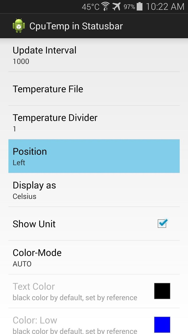 Monitor CPU Temperature from the Status Bar on Your Galaxy S5 or Other Android Device
