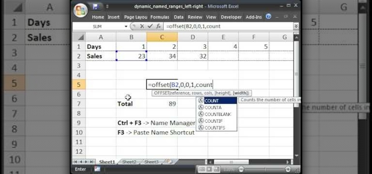 Range In Excel ~ How to make a dynamic named range in excel left right