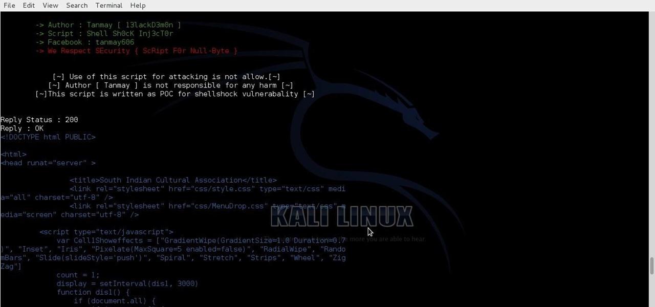 Exploit ShellShock with My Script « Null Byte :: WonderHowTo