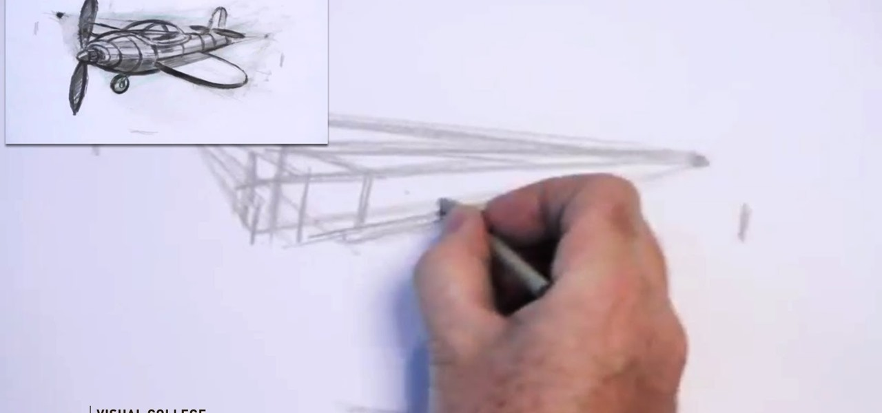 Draw a Cartoon Airplane in Two Point Perspective