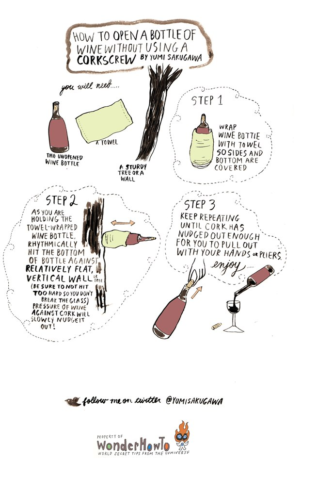 open a wine bottle without a corkscrew how to open a bottle of wine if