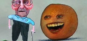 Draw the Annoying Orange using colored pencils and pens