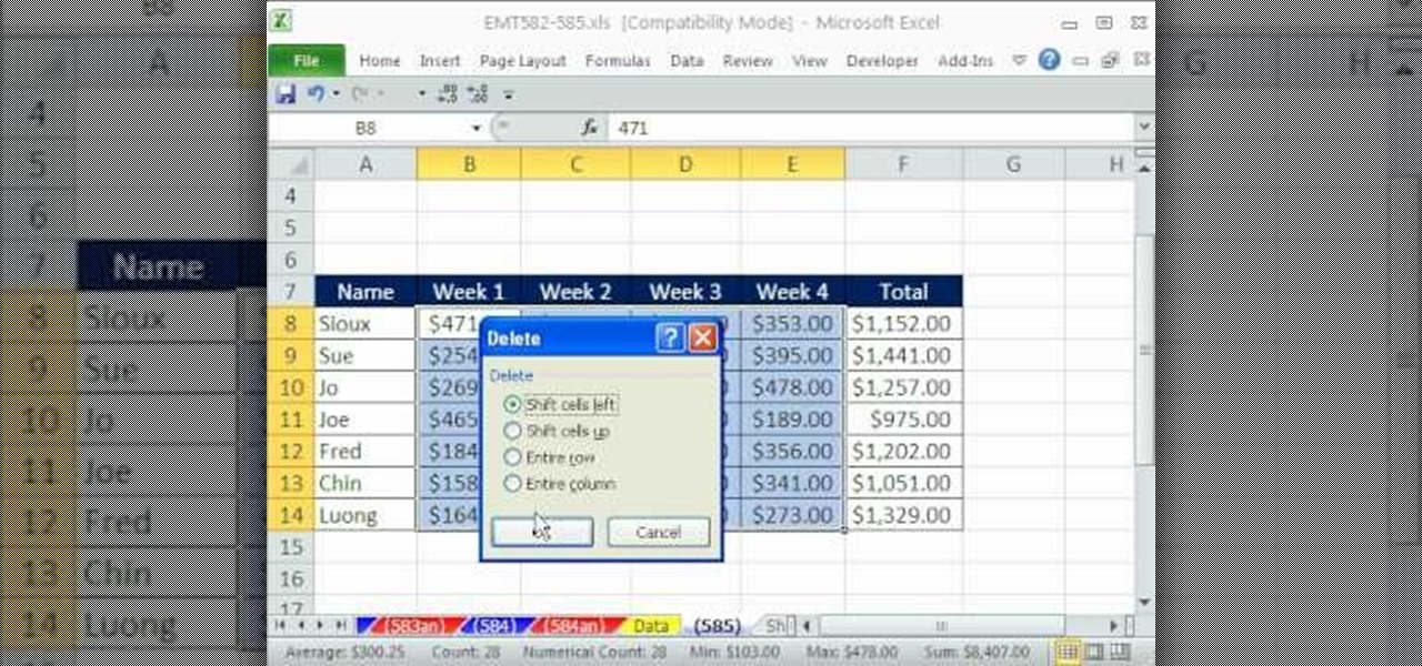 how to delete from excel cell