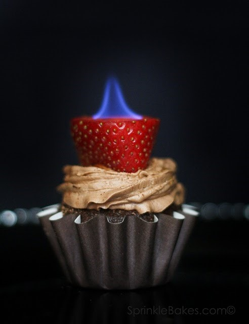 For Your Valentine's Day Flame: Torch-Topped Chocolate Cupcakes