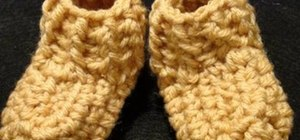 Crochet a rib cuff baby bootie left-handed