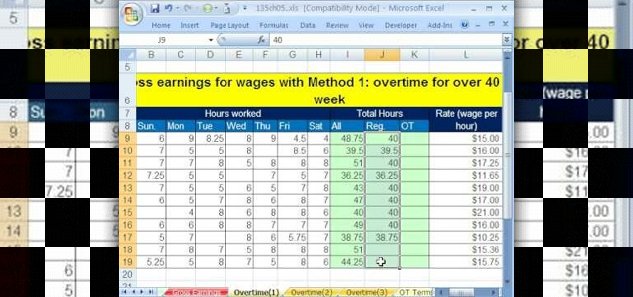 how to calculate gross and overtime pay in microsoft excel