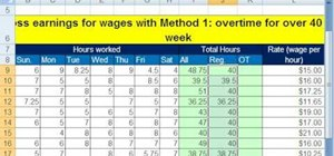 Calculate gross and overtime pay in Microsoft Excel