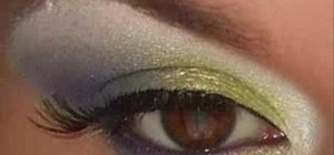 Apply lime green and purple eye shadow