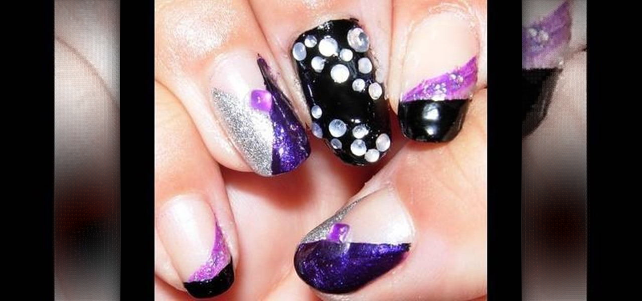 how to paint your nails purple black amp silver with