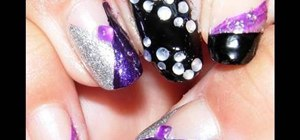 Paint your nails purple black & silver with rhinestone