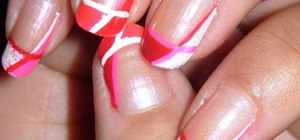 Create pink, white, and red Valentine's Day nail art