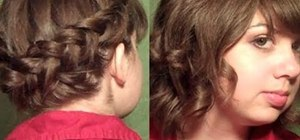 Create a feminine Dutch halo and short curly hairstyle