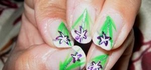 Create a purple flower nail art design