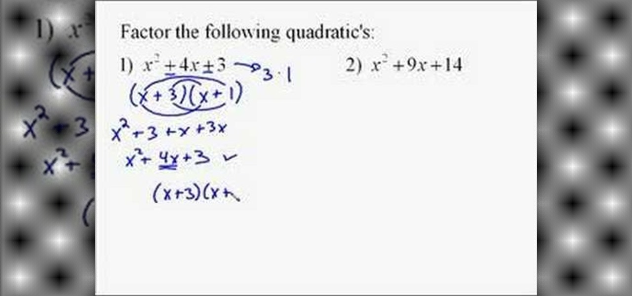 Homework help on quadratic expression