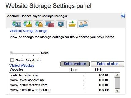 how to delete all sites from your flash cache