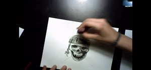 Draw a pirate skull with flames