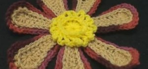 Make a large hippie crochet flower for right handers