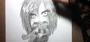 Draw an emo angel chibi character