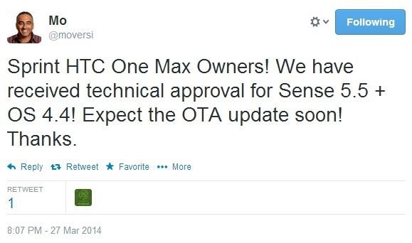 Sprint HTC One Max to Receive Update to KitKat and Sense 5.5