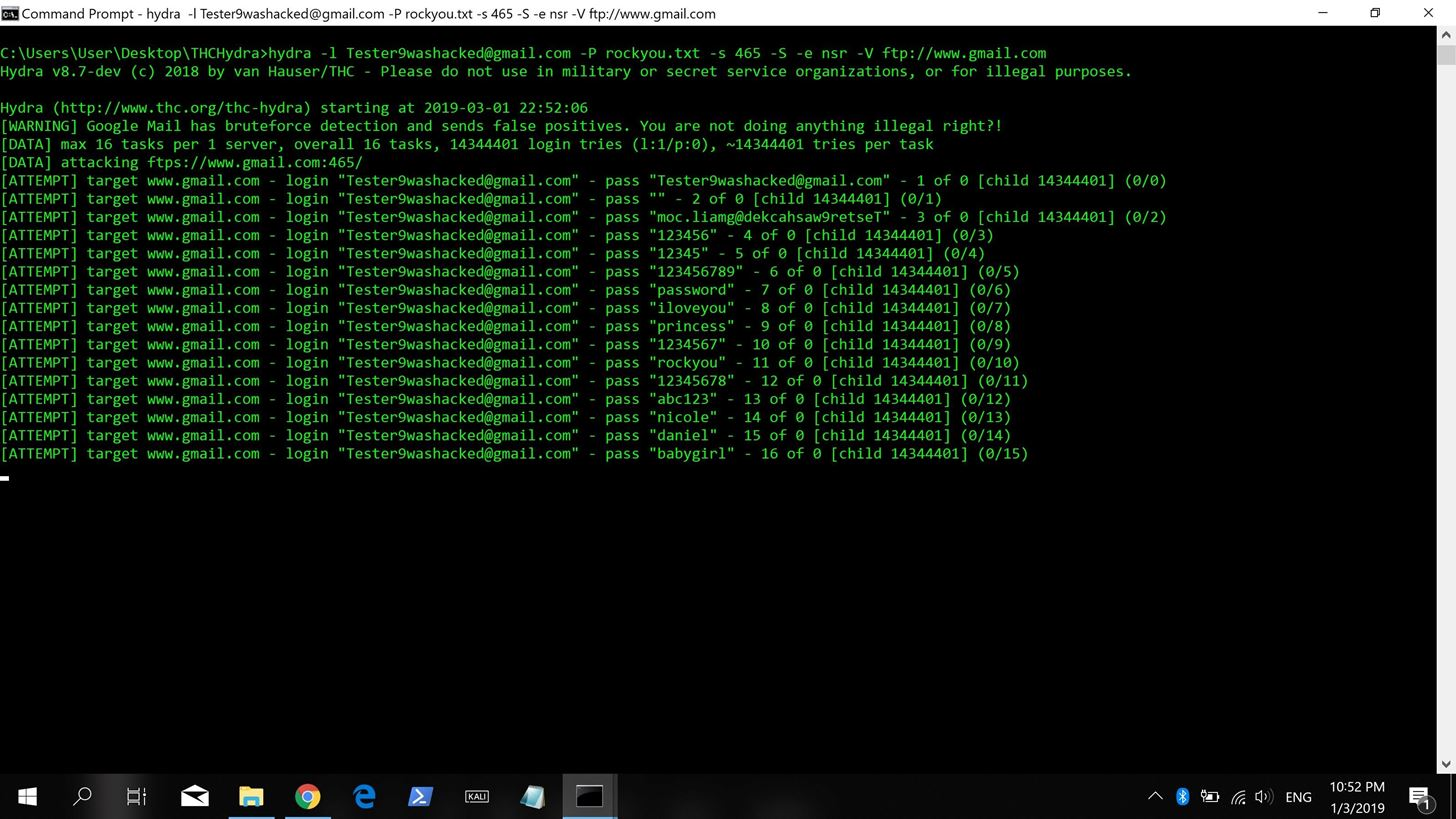 How to Brute Force Dictionary Attack Gmail Accounts with THC Hydra Master on Windows 7 and Above