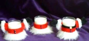Make Santa suit candle votives for Christmas decor