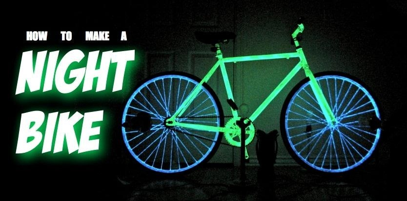 your night bike glow in the dark with phosphorescent paint bicycle. Black Bedroom Furniture Sets. Home Design Ideas