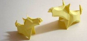 Make a Scottie dog from folded paper with origami