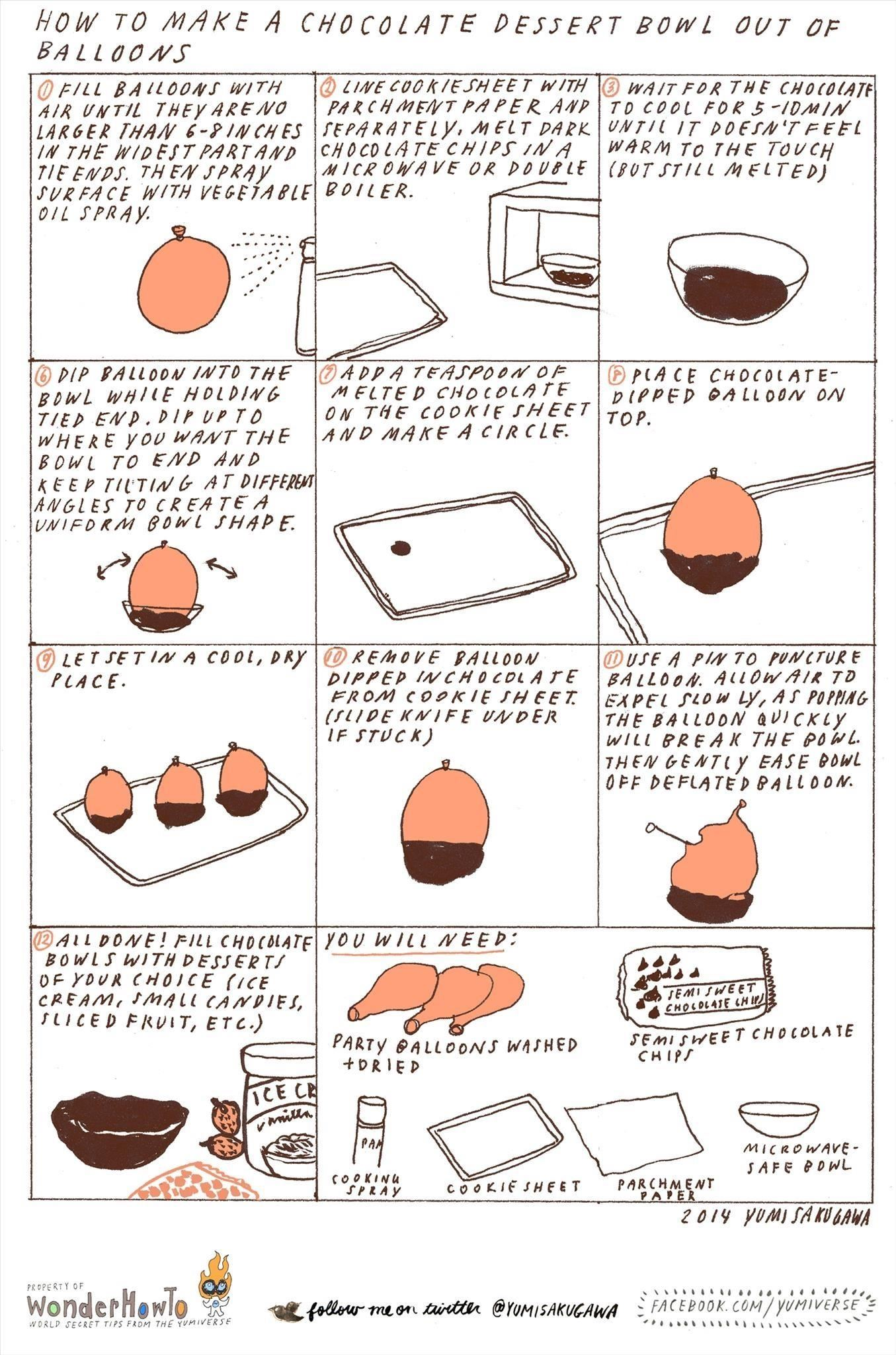 How to Make Chocolate Dessert Bowls Using Inflated Balloons