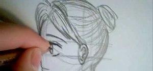 Draw a manga face sideways