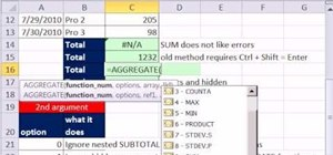 Add & average while ignoring #N/A errors in MS Excel