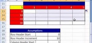 Create a table of formulas and labels in MS Excel