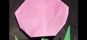 Make a pretty in pink origami tulip flower