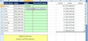 Use the RANK and PERCENTRANK functions in MS Excel