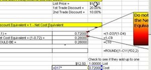 Work with series trade discounts in Microsoft Excel