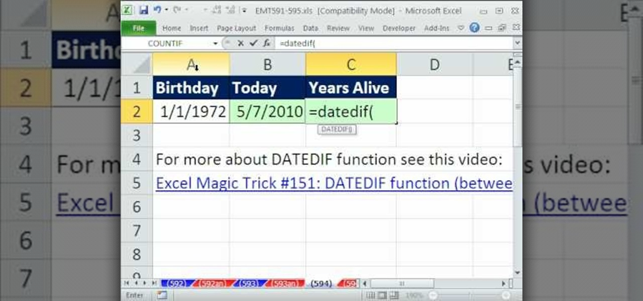 How to Calculate age in years with DATEDIF & TODAY in Excel
