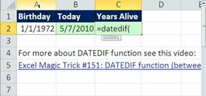 Calculate age in years with DATEDIF & TODAY in Excel