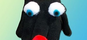 Make a recycled kids puppet from a glove and pom poms