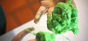 Make fun green slime with borax and Elmer's Glue