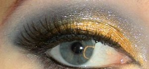 Create a black and gold glamorous party eye look