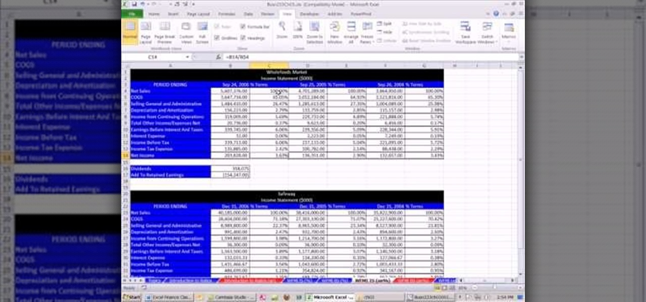 how to create common sized financial statements in microsoft excel microsoft office wonderhowto
