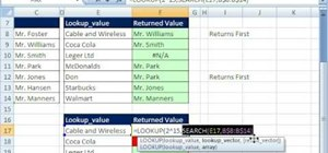 Run a partial text lookup in Microsoft Excel