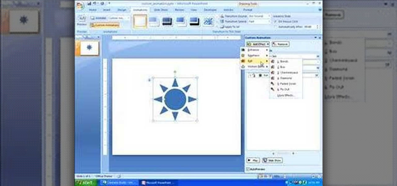 how to add custom animation in powerpoint 2007 microsoft office