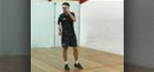 Perform a backhand corner recovery in squash