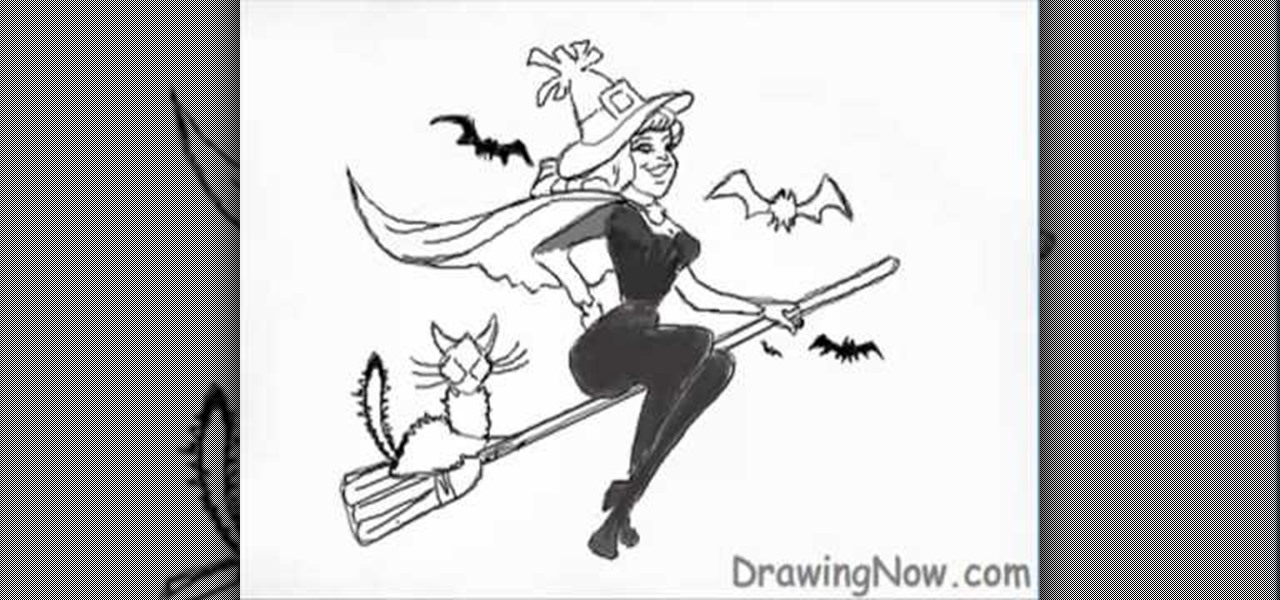 Draw Nice Witch Broom For Halloween