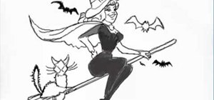 Draw a nice witch on a broom for Halloween