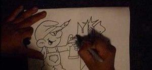 Draw a graffiti Smurf character