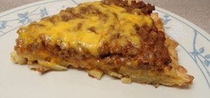Bake a hash brown pizza with ground beef
