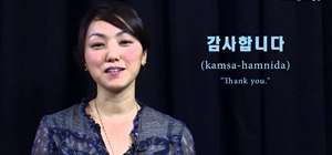 "Write and say the Korean words for ""thank you"""